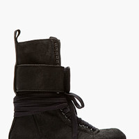 BLACK SUEDE PLINTH HIKER BOOTS