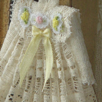 Dollhouse Girl Valenciens Dress on hang. 1:12 Miniature dress emboridered by hand.