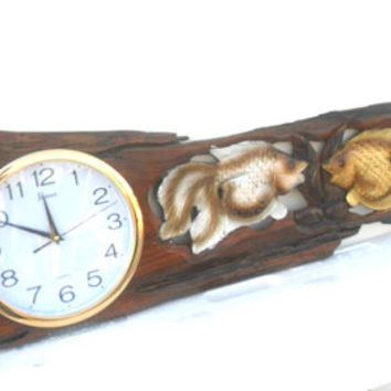 "Teak Wood Carving Two Fish With Clock  Wall Hanging Home Art Decor Natural Driftwood Two Lucky Fishes Carved / Gift 44.07"" x 10.6"""