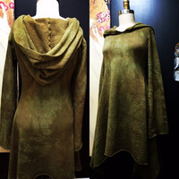 Winter Fleece Hooded Dress Hand Dyed in Rusty Olive Green M/L