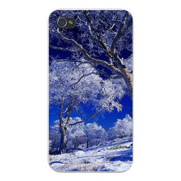 Apple Iphone Custom Case 4 4s Plastic Snap on - Landscape Woods w/ Trees Covered in Snow