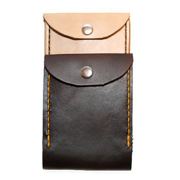 """Custom leather men's wallet you choose finish, thread color, and personalized initials. minimalist """"fisherman"""" front pocket wallet"""