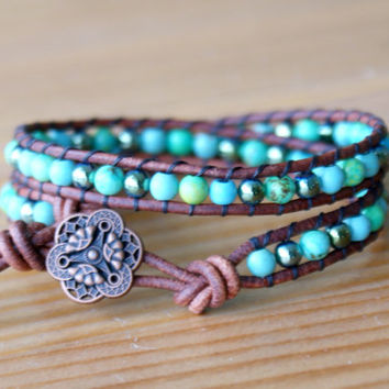 Bohemian beaded leather wrap bracelet, Blue Green Turquoise, hematite, trendy hipster gift for her, skinny wrap by OlenaDesigns