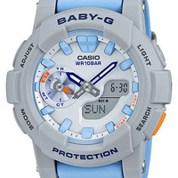 Casio Womens Baby-G Watch - Grey & Blue - Stopwatch - 100m - Analog-Digital