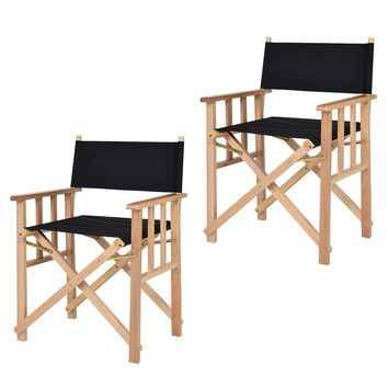 "34"" Set Of 2 Folding Makeup Director Chairs Wood Camping Fishing Black"