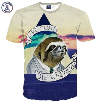 Live Slow Die Whenever - Political Sloth Crew Neck Tee