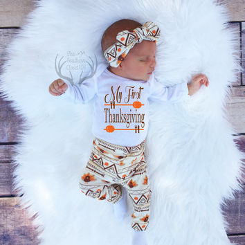 Unisex Coming Home Outfit,My First Thanksgiving,Baby Thanksgiving Outfit,Fall Outfits,Orange,Brown,Cream,leggings,hat,Headband