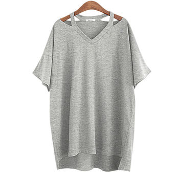 2017 Summer Plus size XL- 5XL Cotton Off Shoulder Women T-shirt V Neck Sexy Casual Loose Tops Ladies Female Tees white black