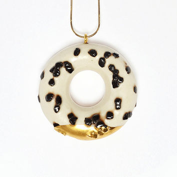 Milky Donut with Chocolate Sprinkles and Gold Glaze - handmade ceramic jewellery dessert
