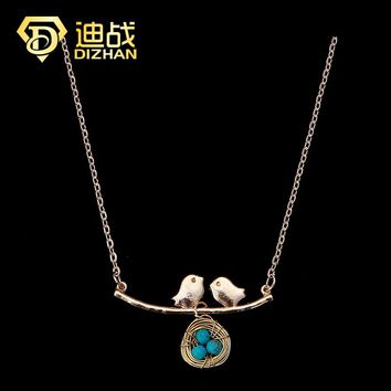 Easter Jewelry Silver Gold Color Chain Birds Egg Pendant Statement Necklace Lovely Bird's Nest Choker Necklace for Women Gift