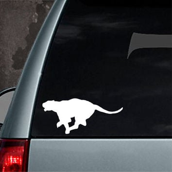 RUNNING LEOPARD CAT vinyl car decal  sticker laptop motorcycle many colours available bumper sticker