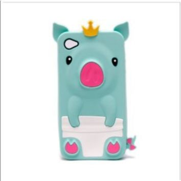 Cute Pig Animal Silicone Case for iPhone 4/4S - Turquoise: Cell Phones & Accessories