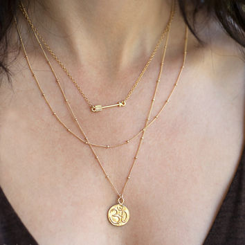 Layered Necklace Set - Lotus and Om Reversible Charm - Layering Pendants - Boho Chic Jewelry - Arrow Charm - Gold Beaded Chain