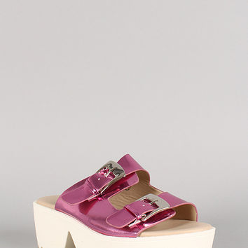 Metallic Leatherette Buckle Open Toe Flatform Sandal