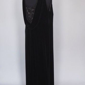 Plus Size 16 Large Vintage 90s does 30's Grecian Black Velvet Lave Overlay Dress Maxi Gown Victorian Gothic  Edwardian Art Deco 40's Sheath