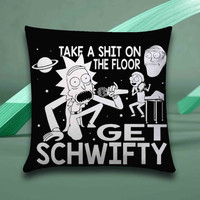 Rick and Morty Inspired Get Schwifty Pillow case size 16x16, 16x24, 18x18, 20x30, 20x26