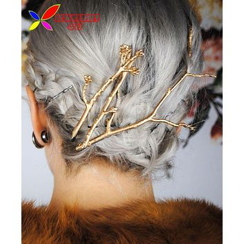 Tree Clip Fashion Novel Designer Vintage Metal Branches Hairpins for Women Wedding Hair Jewelry Accessories pinzas de pelo