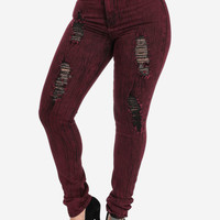 Burgundy High Waisted Ripped Skinny Jeans