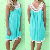 Edisto Island Jade Sleeveless Crochet Detail Tassel Shift Dress