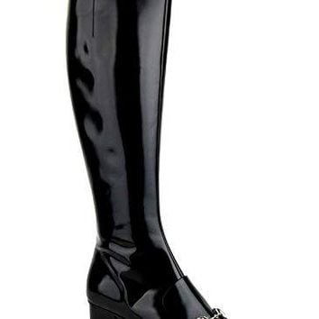 Gucci Black Patent Leather Knee Boots with Silver Horsebit 362949 1000