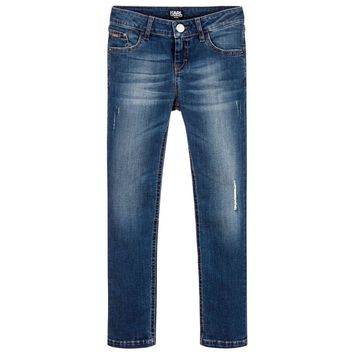 Karl Lagerfeld Girls Blue Denim Slim Jeans