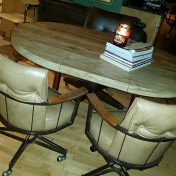 MID CENTURY BLONDE LAMINATE TABLE W MCM CHAIR AND