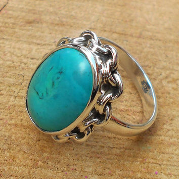 Turquoise Ring Jewelry - Designer Jewelry, Gemstone Ring, Fine Silver Ring, High Quality Ring, Best Selling Ring