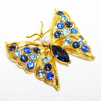 Blue Rhinestone Butterfly Brooch - Shades of Blues Rhinestones, Faux Pearl Bead Accent - Retro Vintage 1990s Butterflies - Flying Insect