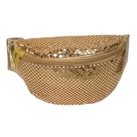 CTM® Womens Sequin Sparkling Mesh Fanny Waist Pack, Gold
