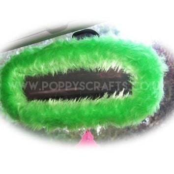 Lime Green faux fur rear view interior car mirror cover