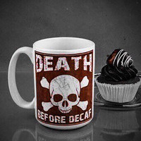 Coffee Mug - Skull Coffee Mug - Death Before Decaf Coffee Mug - Coffee Mug for Men - Gifts for Men - 15 oz Coffee Mug - Dishwasher Safe Mug