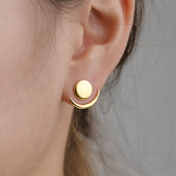Moon Phase Ear Jacket, Sterling Silver, Gold Plated, Geometric Jacket Earrings, Gift for Girlfriend, LHandmade, Lunaijewelry, EJK008