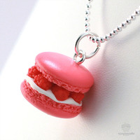 Scented Raspberry French Macaron Necklace - Food Jewelry