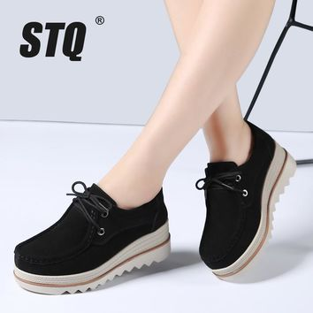 STQ 2017 Autumn women flats thick soled leather suede platform sneakers shoes female casual shoes lace up flats creepers 3089