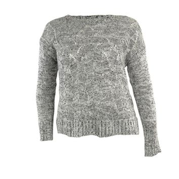 NY Collection Women's Sequined Round Neck Knit Sweater