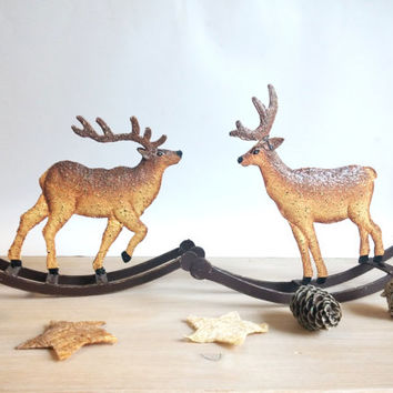 Vintage figurine , Christmas deers,Handmade Metal deers, Couple deers, Santas decoration, Country home decor,