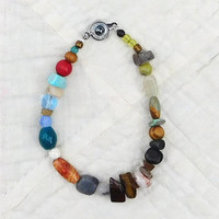 "Indie Bracelet Rasta Beach Jewelry Hippie Style 7 1/2"" Indie Fashion Hippy Bohemian Assorted Colors Earthy Bright Color Southwest"
