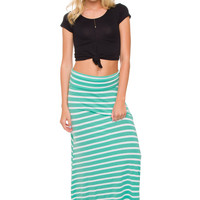 Isobel Stripe Maxi Skirt - Mint
