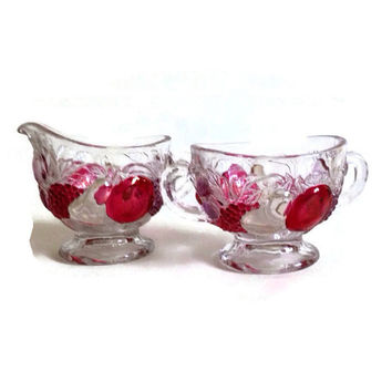 Vintage Westmoreland, Della Robbia, Footed Sugar and Creamer, Ruby Red Stained, 1928-1940, Flashed Fruit