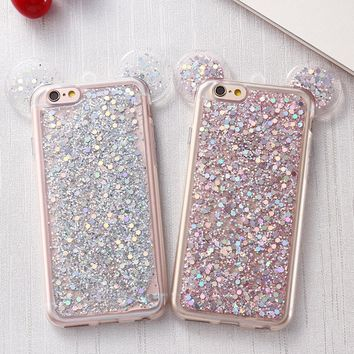 Glitter Sequins Phone Case 3D Mickey Mouse Ear Phone Case