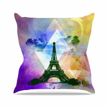 "AlyZen Moonshadow ""EIFFEL TOWER (PURPLE)"" Yellow Travel Throw Pillow"