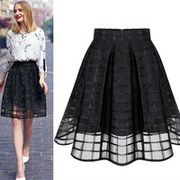 New Women Long Skirt Transparent Tulle Skirts Womens High Waist Pleated Midi Skirts Organza Saia Feminino Tutu Skirt White/Black