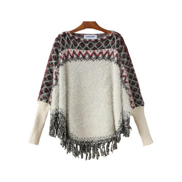 Scarf Batwing Sleeve Knit Sweater [9017750148]