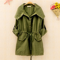Blouse with Roll Sleeves for Women Green B5464