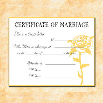 Keepsake Marriage Certificate Faded Yellow Shabby Rose - Instant DIGITAL DOWNLOAD