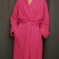 Hot Pink Long Shawl Collar Robe Cotton Waffle Made in the USA | Simple Pleasures, Inc.