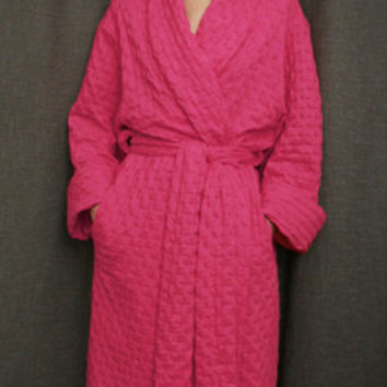 Hot Pink Long Shawl Collar Robe Cotton Waffle Made in the USA   Simple Pleasures, Inc.