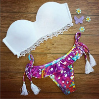 Women Bandage Bikini Set Padded Bra Triangle Swimsuit