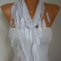 White Scarf - Cotton Scarf -  Cowl with  Lace Edge