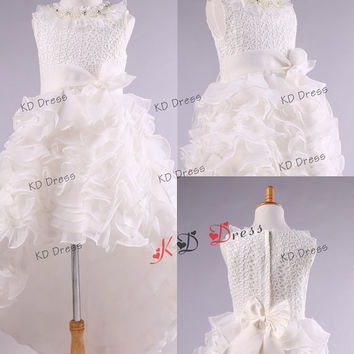 On Sale High-Low Organza Skirt Princess Scoop Neck Ivory Lace Flower Girl Dress Toddler Birthday Party Dress with Sash/Bow